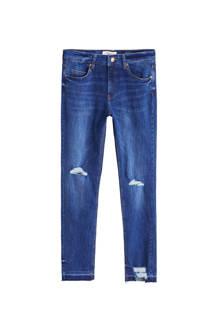 slim fit jeans met decoratieve scheuren blauw