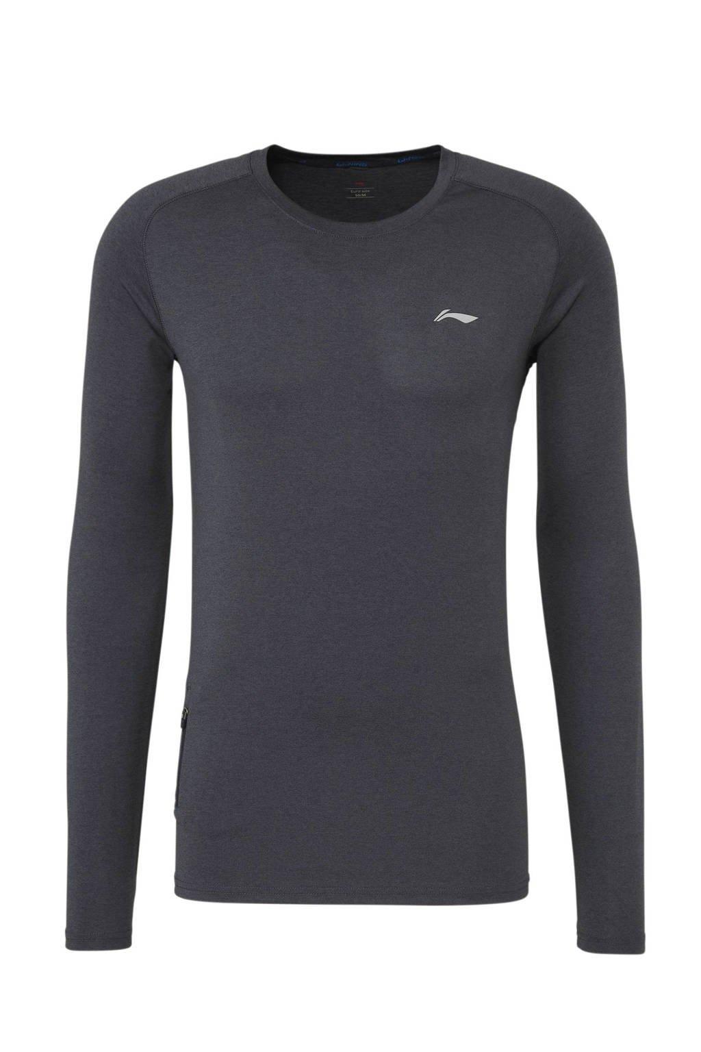 Li-Ning   sport T-shirt grijs, Grijs