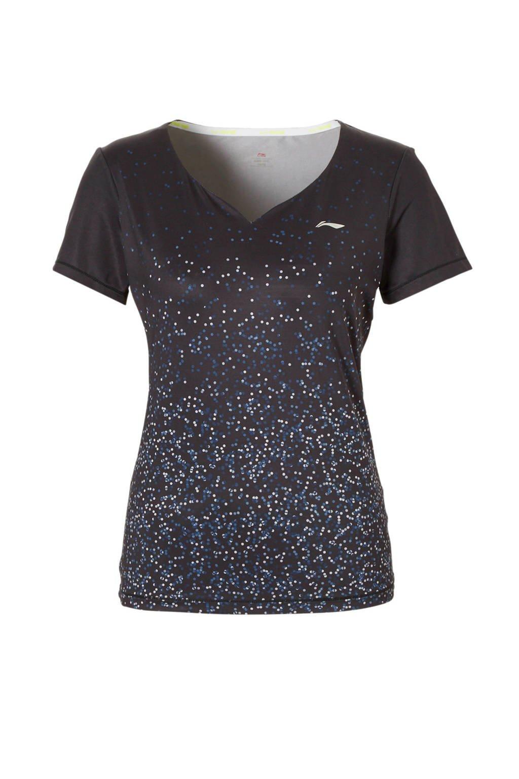 Li-Ning sport T-shirt, Zwart/grijs/wit