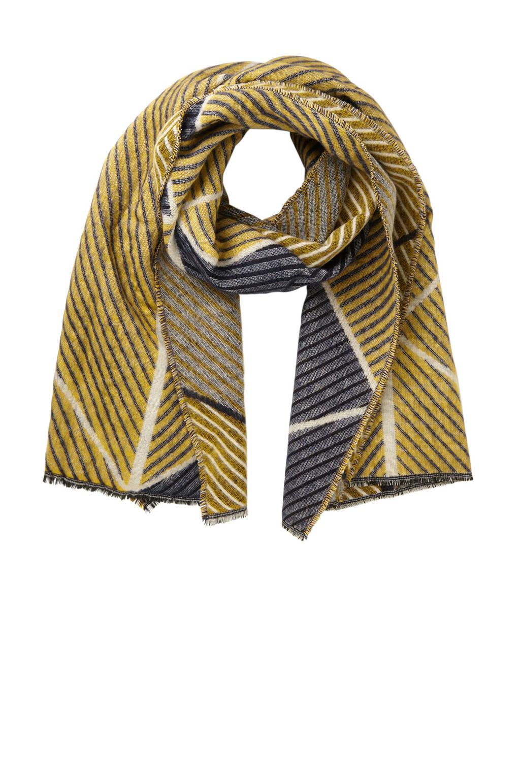 Pieces sjaal met grafische print, Geel/blauw/wit