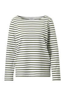 Pieces T-shirt met streep dessin olijfgroen (dames)