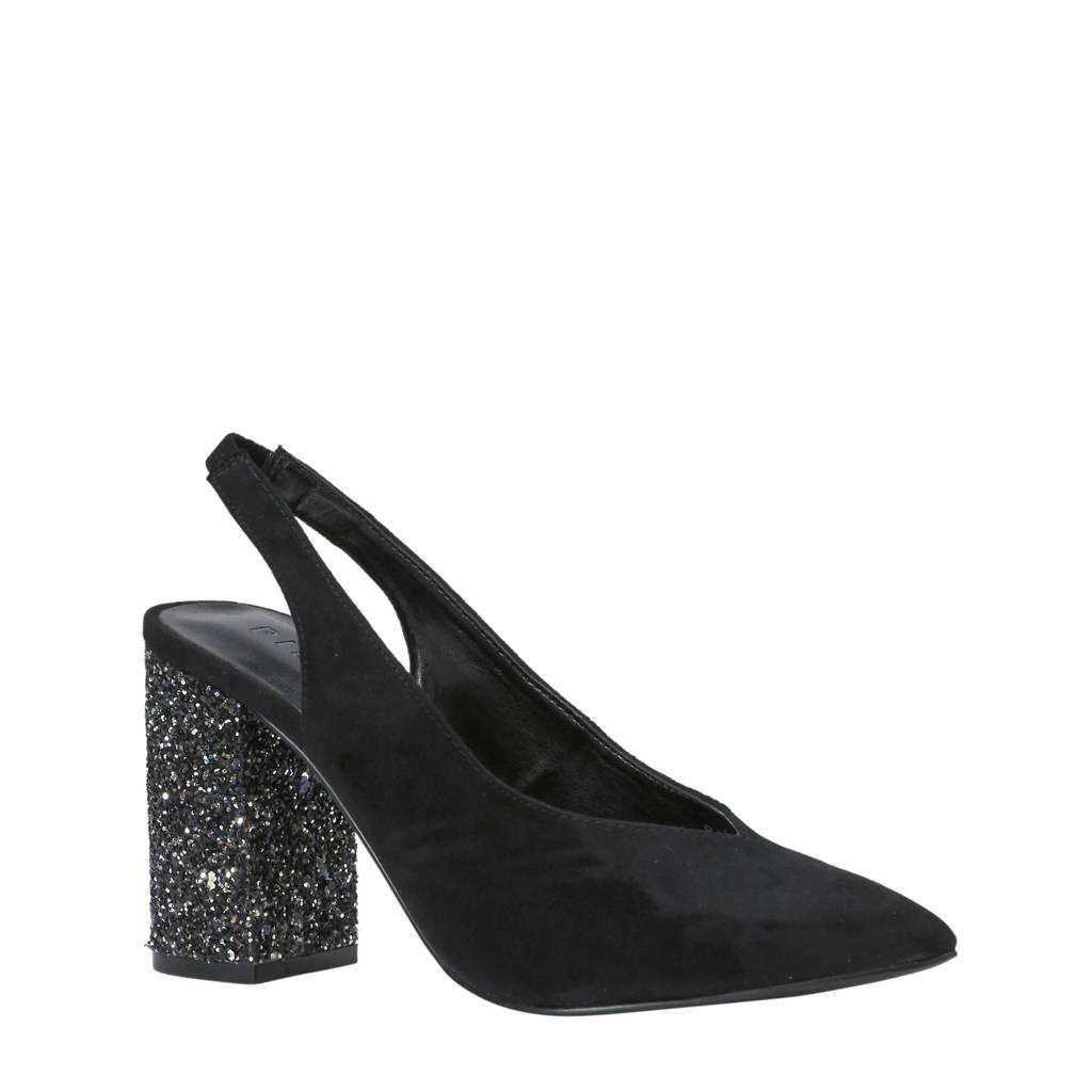 Pieces slingback pumps met glitterhak zwart, Zwart