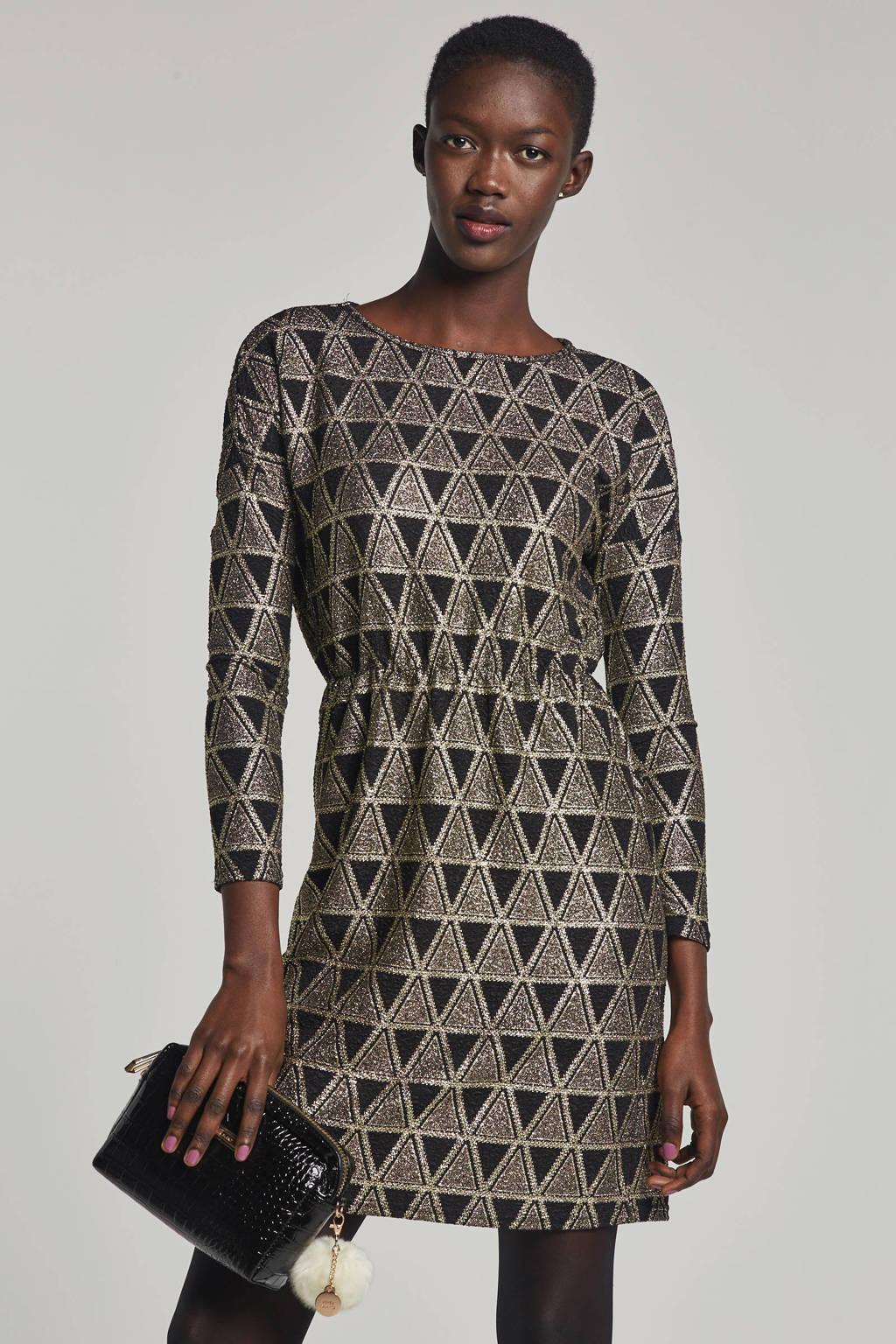 Pieces jurk met grafische print en glitter details, Zwart/goud