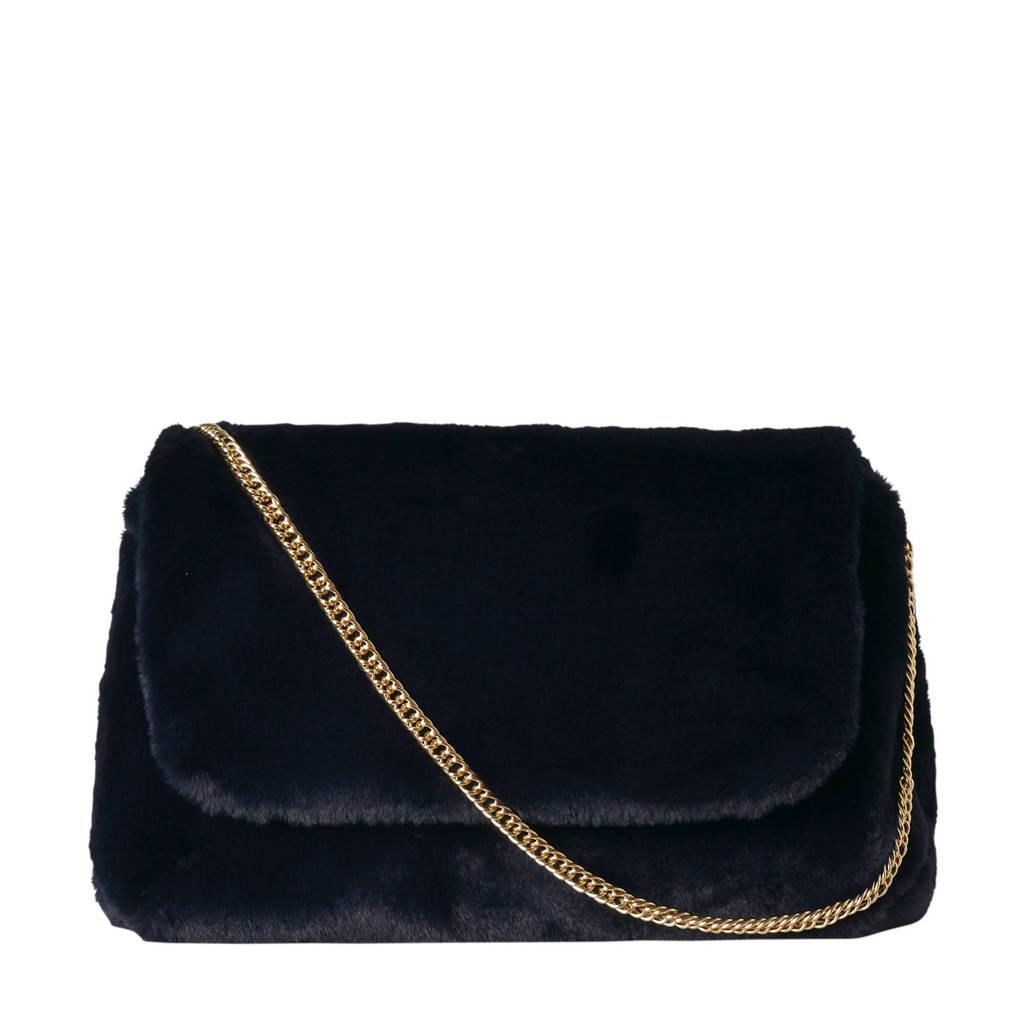 Pieces  cross body tas met bont, Donkerblauw/goud