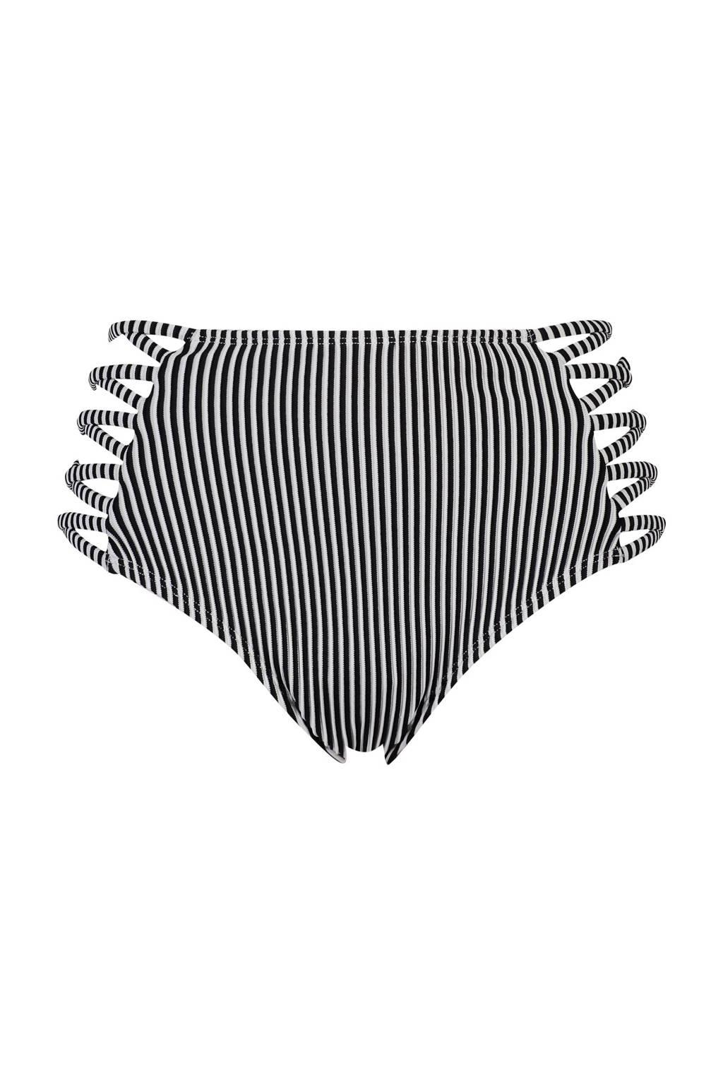 Hunkemöller Mix & Match gestreept high waist bikinibroekje zwart/wit, Zwart/wit