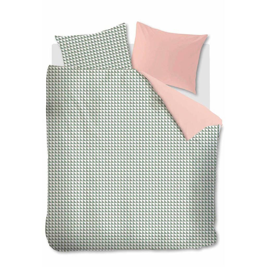 Ambiante katoenen dekbedovertrek 2 pers., Groen/wit/roze, 2 persoons (200 cm breed)