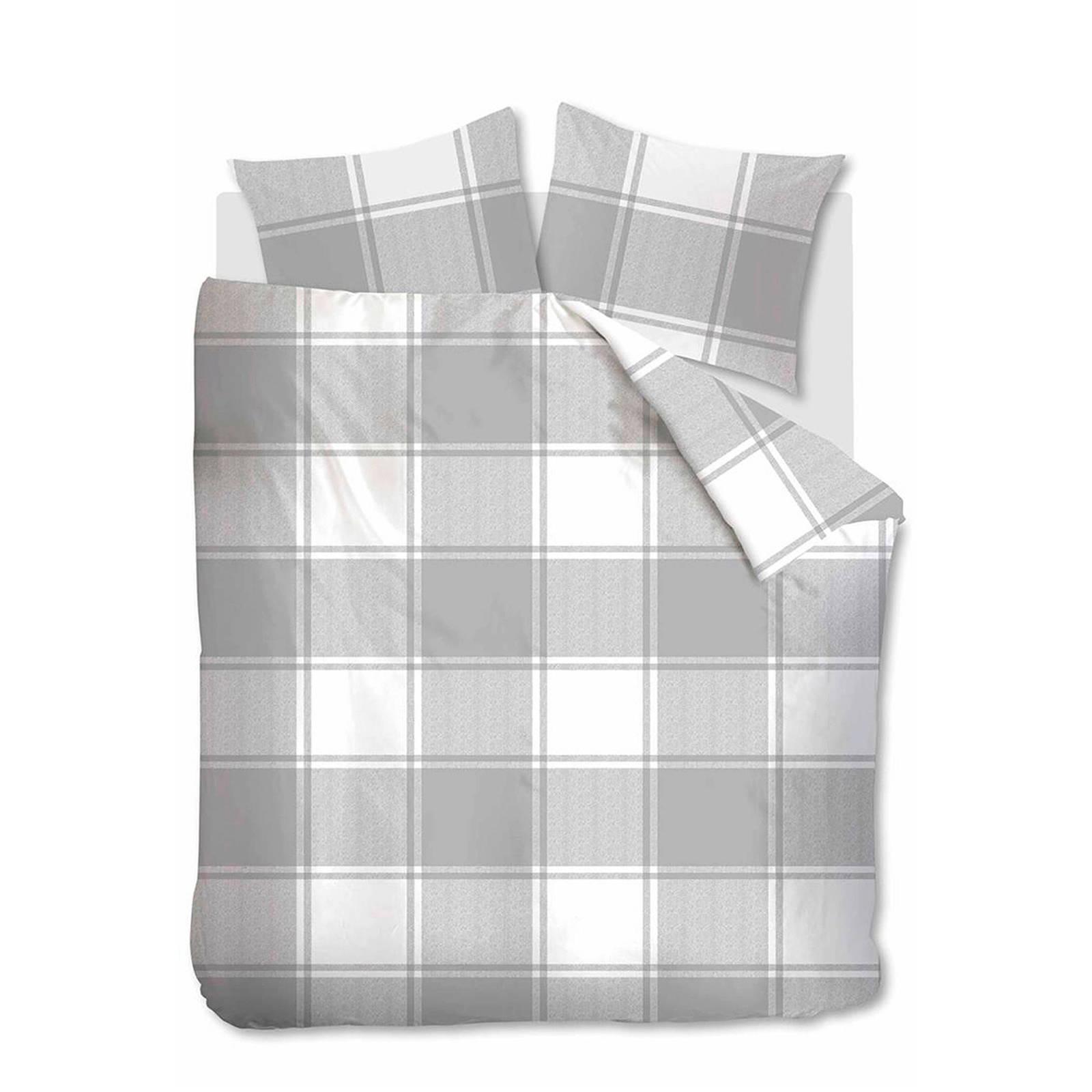 ambiante flanellen dekbedovertrek lits jumeaux grijs