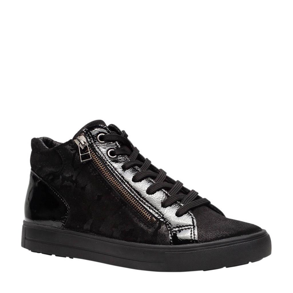 Hush Puppies  leren sneakers zwart, Zwart