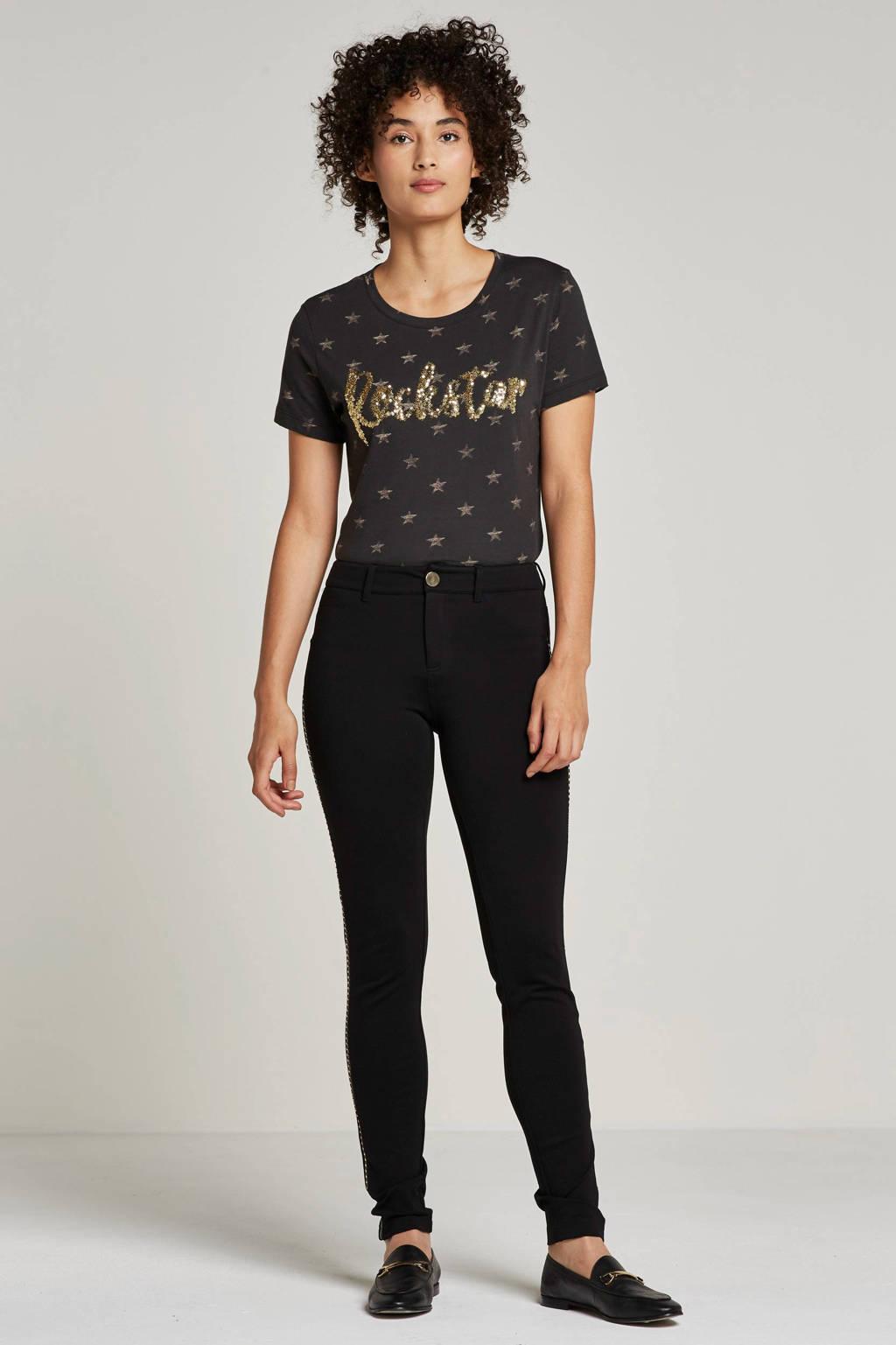 GUESS T-shirt met sterrenprint en pailletten, Donker grijs