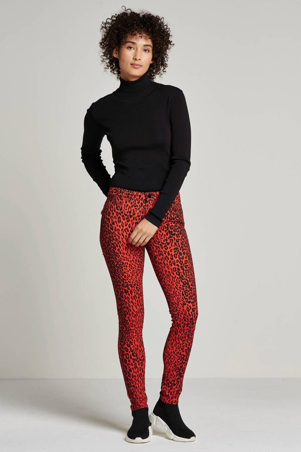 GUESS skinny fit broek met panterprint, Rood