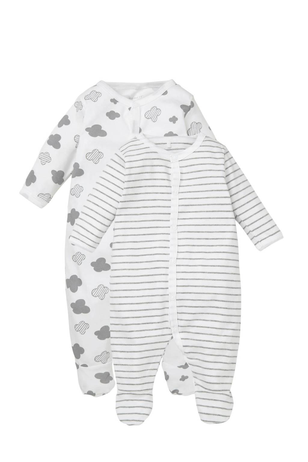 name it BABY pyjama (set van 2), Wit/grijs