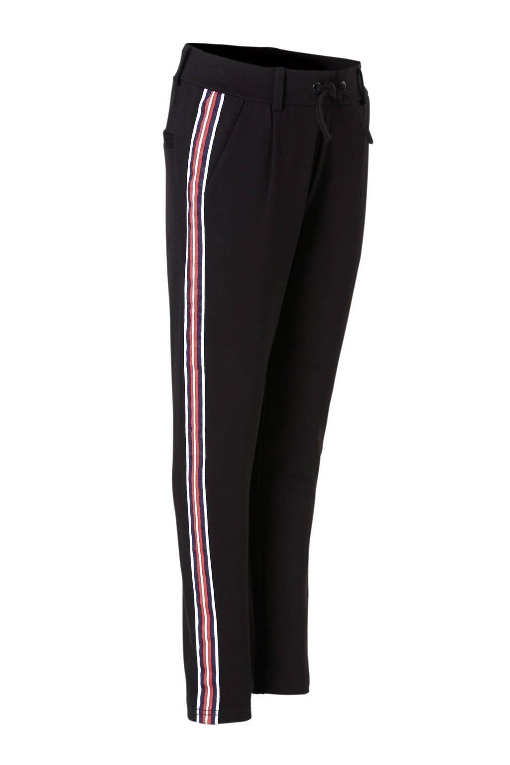 NAME IT KIDS sweatpants Firida met zijstreep zwart, Zwart/wit/rood