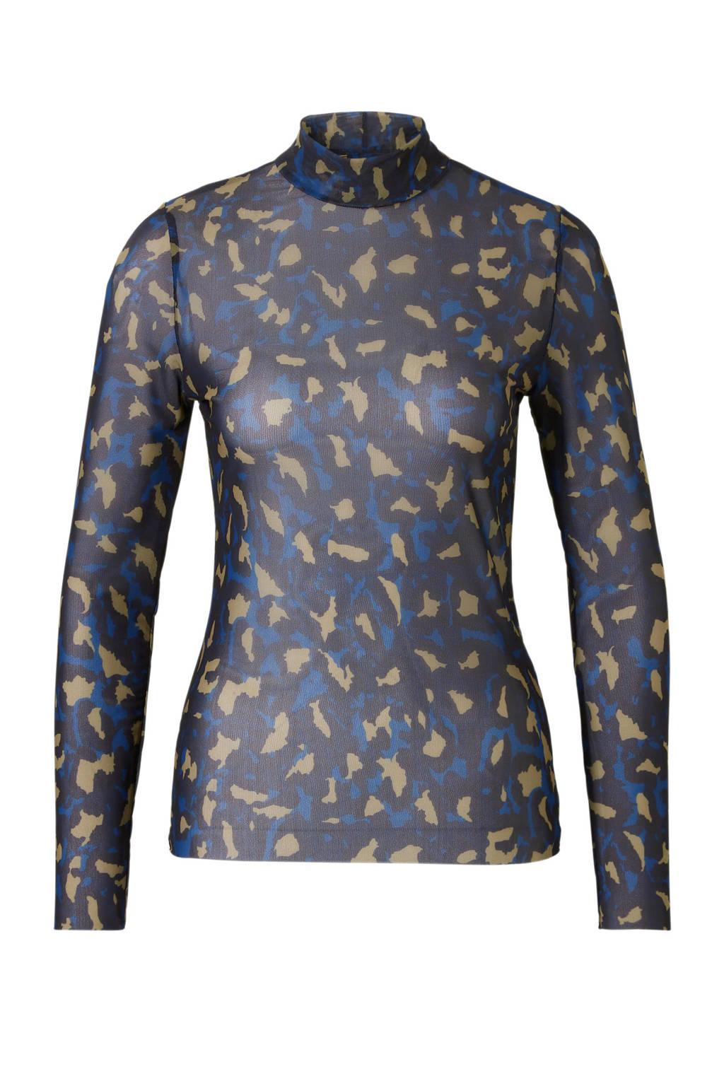 ONLY semi-transparante top met panterprint, Zwart/blauw/bruin