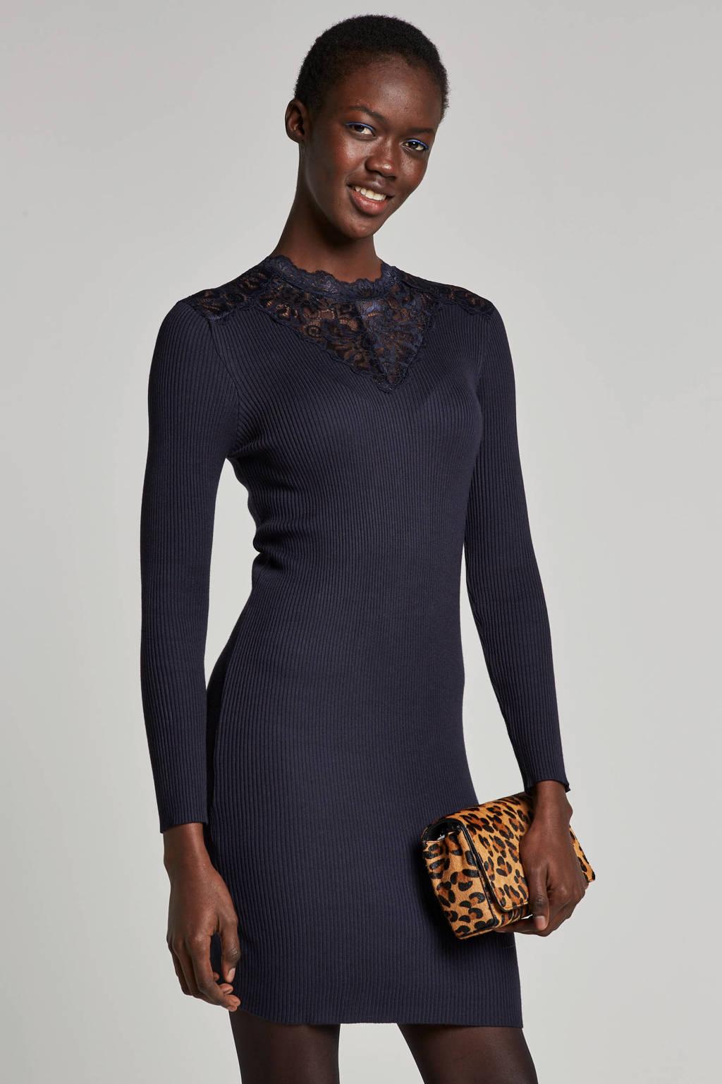 ONLY jurk met kanten details, Donkerblauw