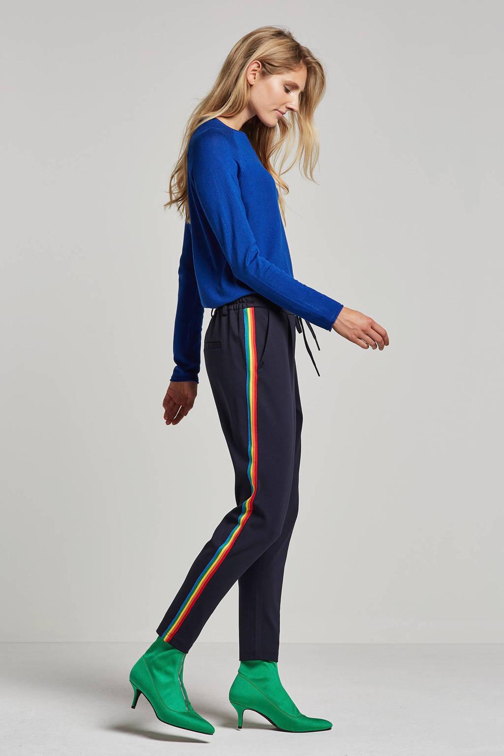 cf59f4ed0b184d ONLY broek met zijstrepen, donkerblauw/rood/geel/groen
