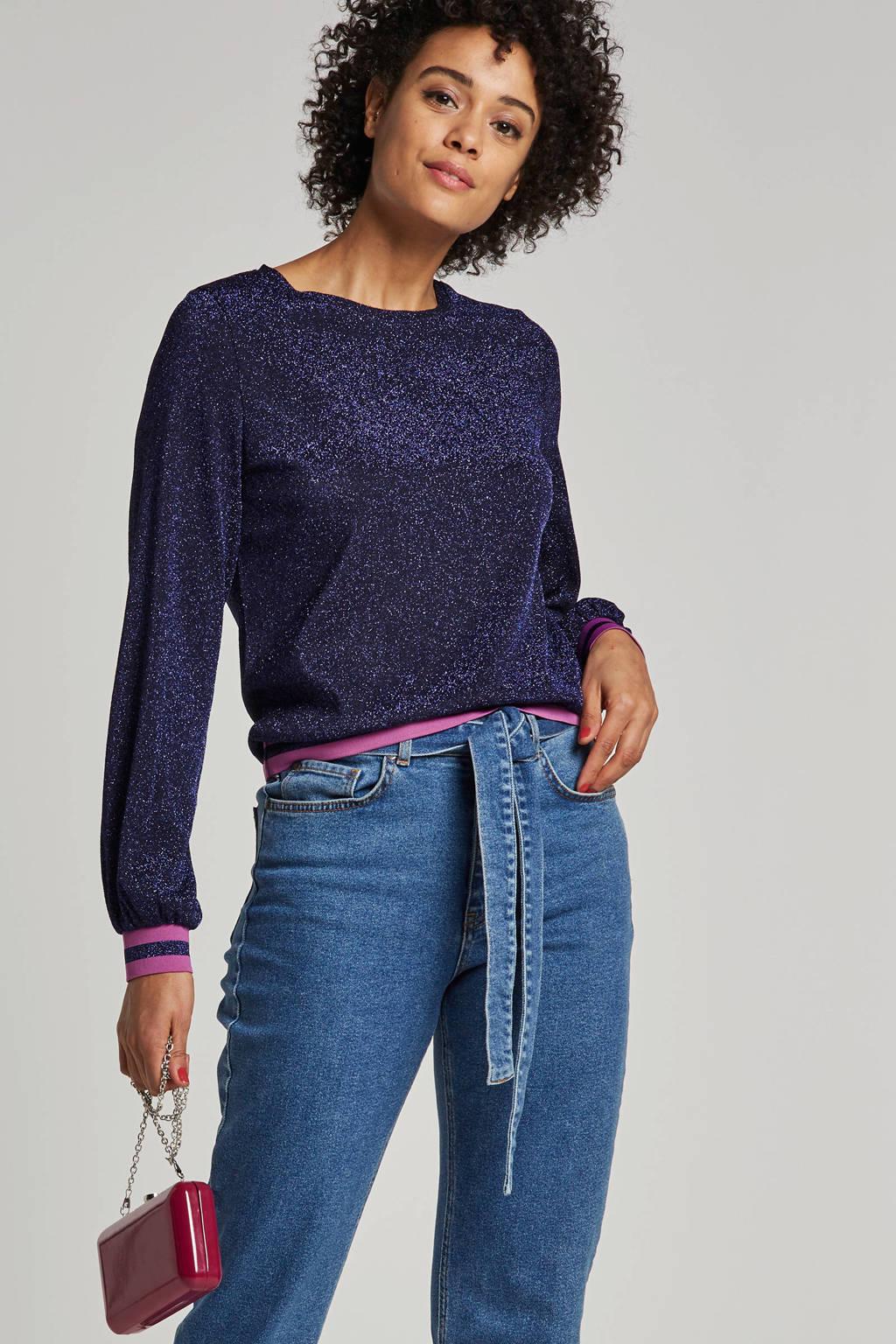 ONLY trui met glitter details en gekleurde rib boorden, Paars