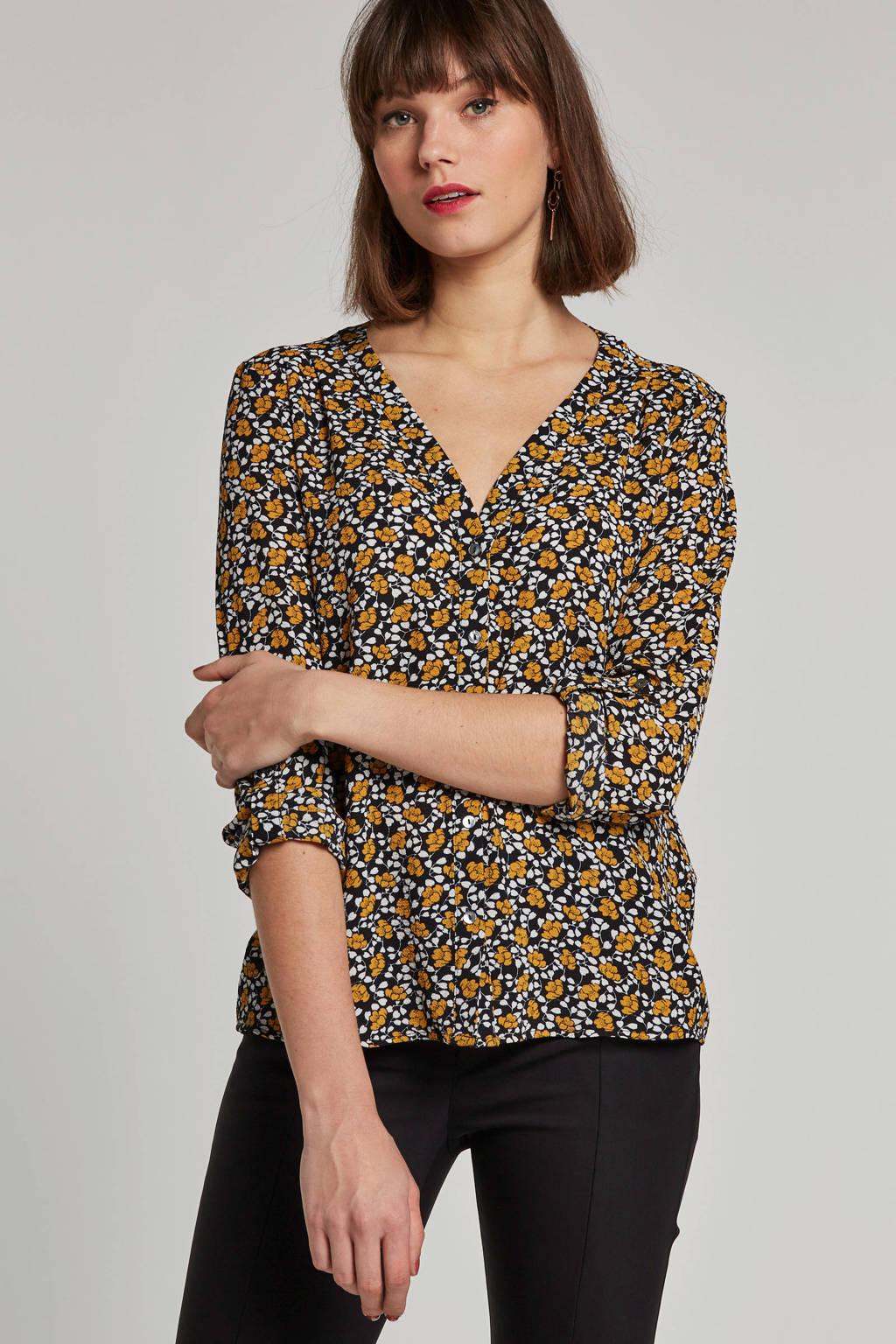 ONLY blouse met bloemenprint, Zwart/geel/wit