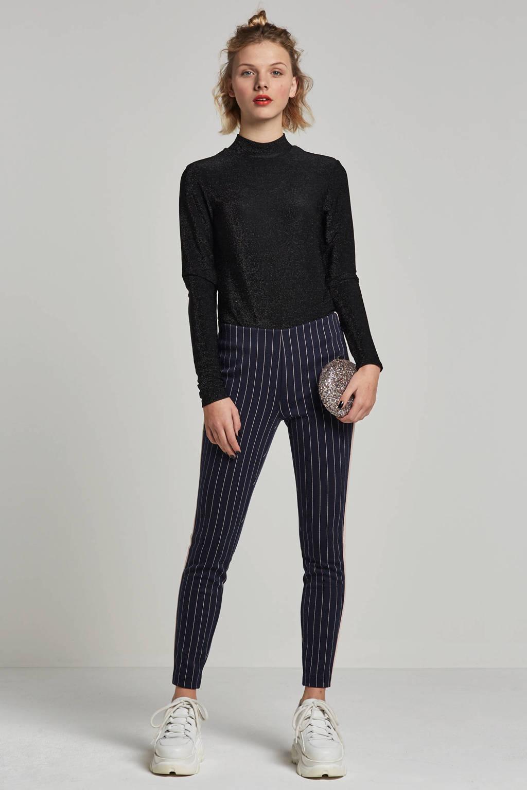 ONLY gestreepte broek met zij strepen, Zwart/wit/roze
