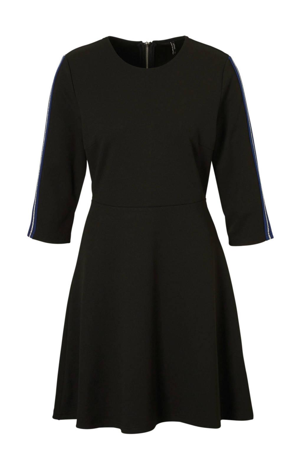 ONLY jurk met streep detail, Zwart/blauw/zilver
