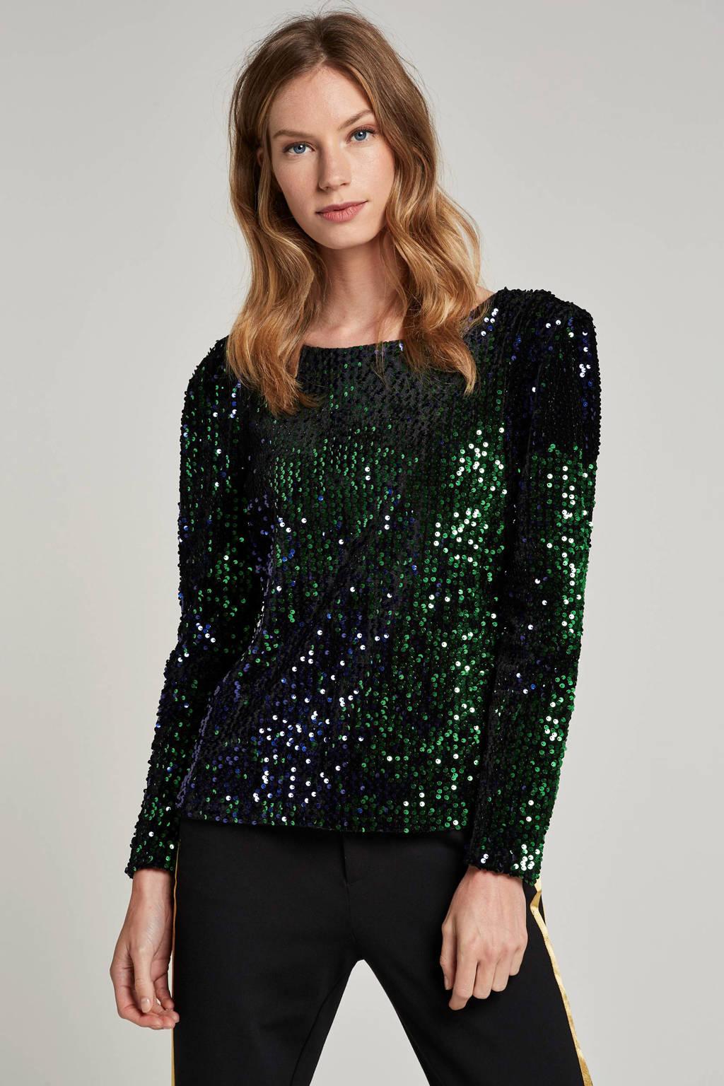 ONLY top met glitter pailletten, Zwart/groen/blauw