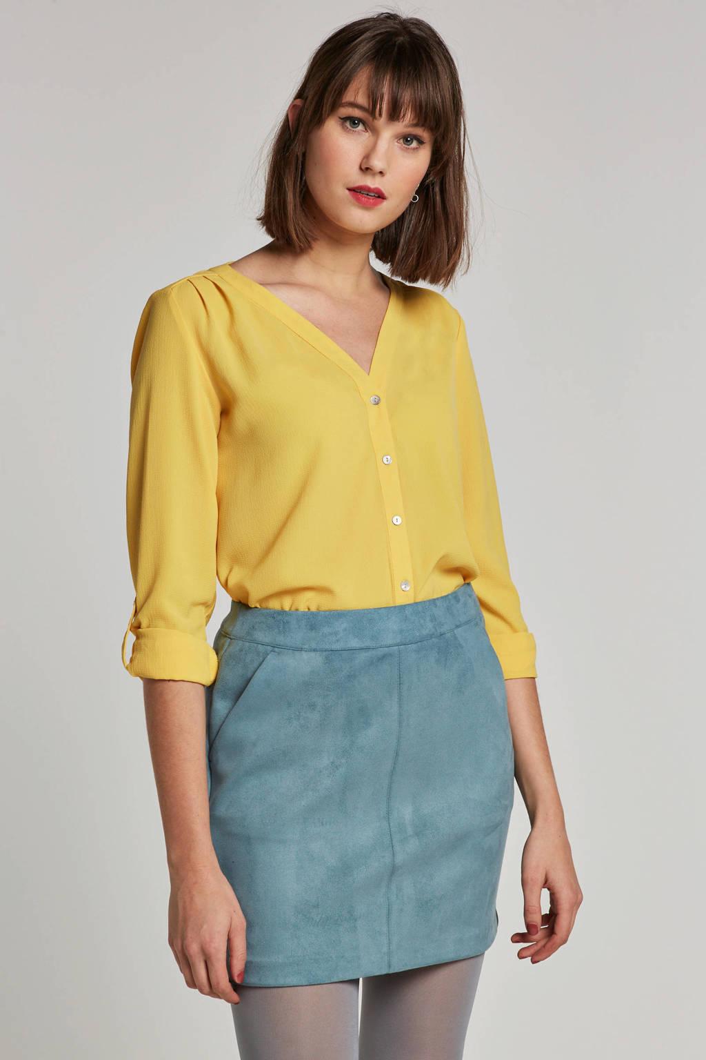 ONLY blouse met V-hals, Geel