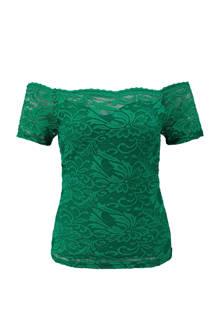kanten off shoulder top groen