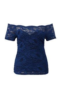 CoolCat kanten off shoulder top donkerblauw (dames)