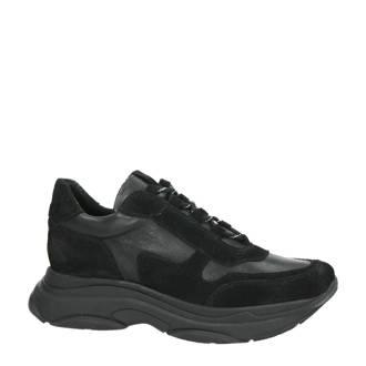 suède met leren sneakers zwart