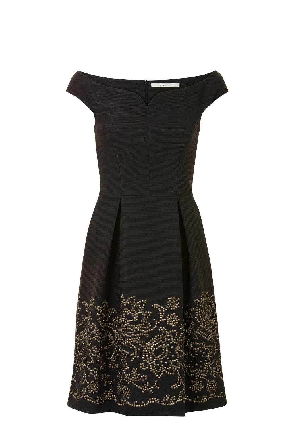 Steps offshoulder jurk met gouden studs zwart, Zwart
