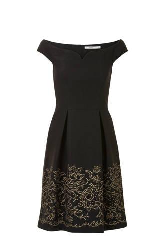 offshoulder jurk met gouden studs zwart