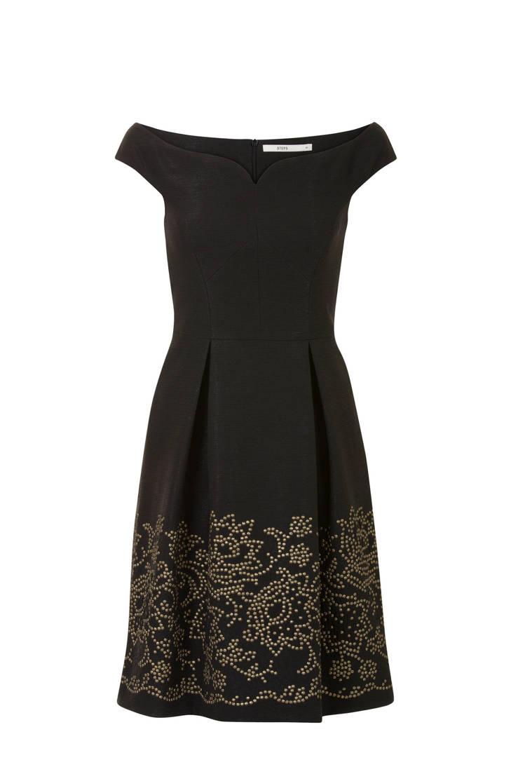gouden met studs offshoulder Steps zwart jurk UOwpnqC