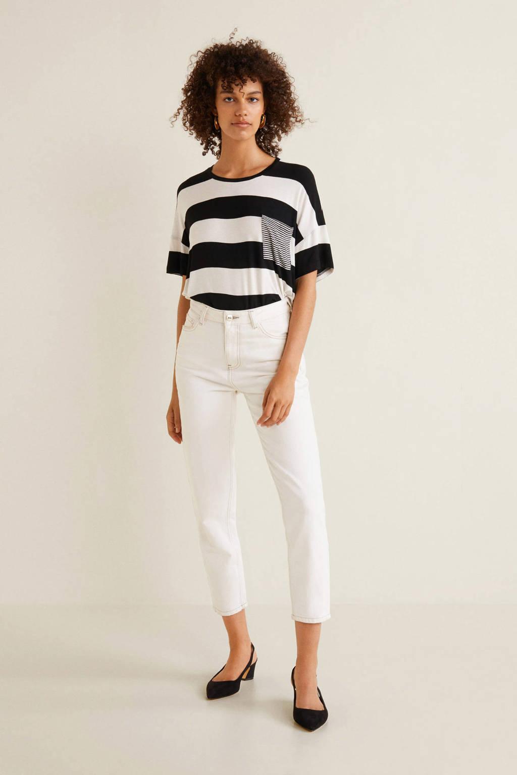 Mango T-shirt zwart gestreept, Wit/zwart