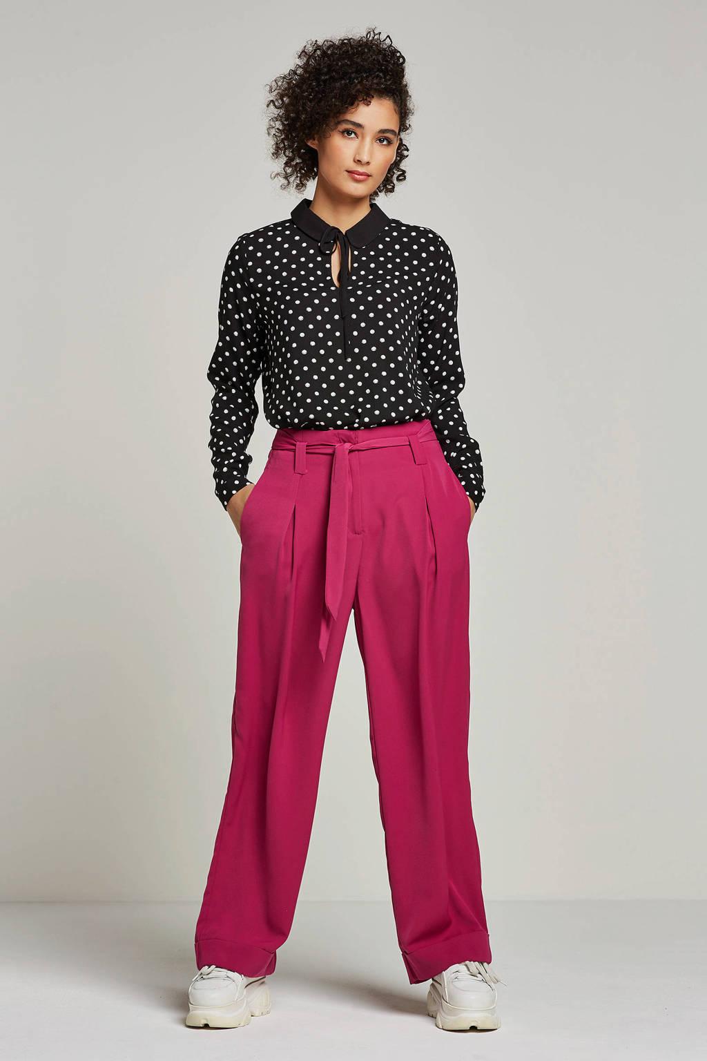 Tom Tailor blouse met stippenprint, Zwart