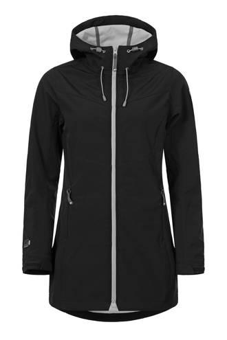 Tenley lange softshell jas zwart