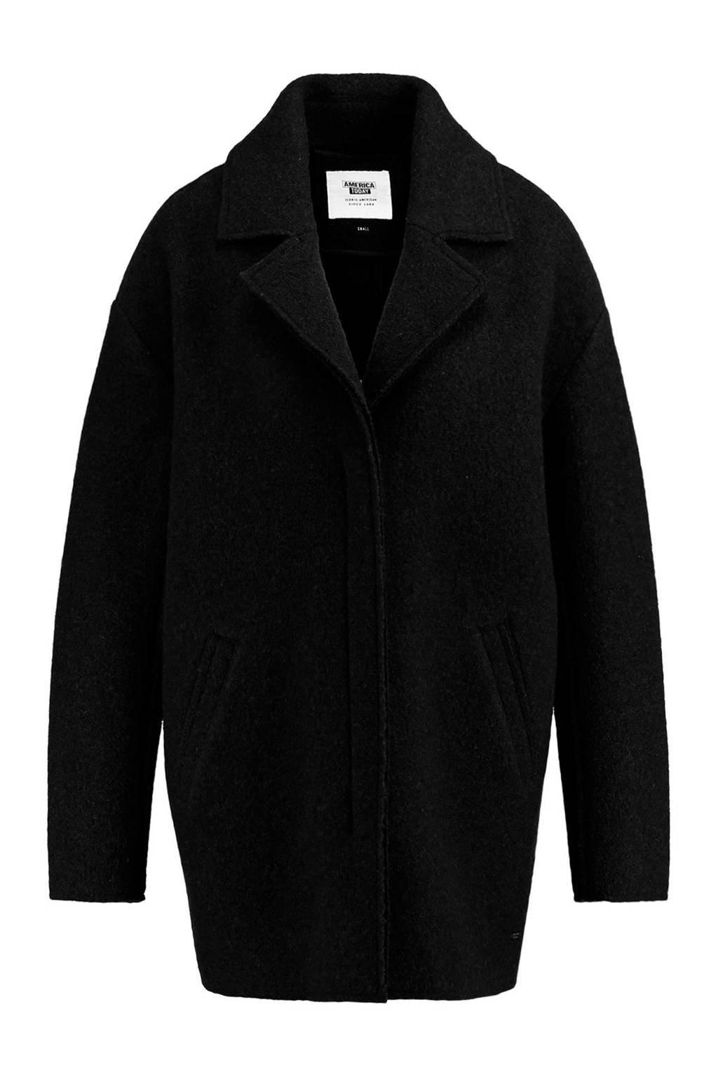 America Today wollen loose fit coat Holly zwart, Zwart