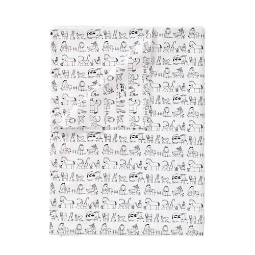 Cottonbaby dekenhoes ledikant dierprint zwart/wit kopen