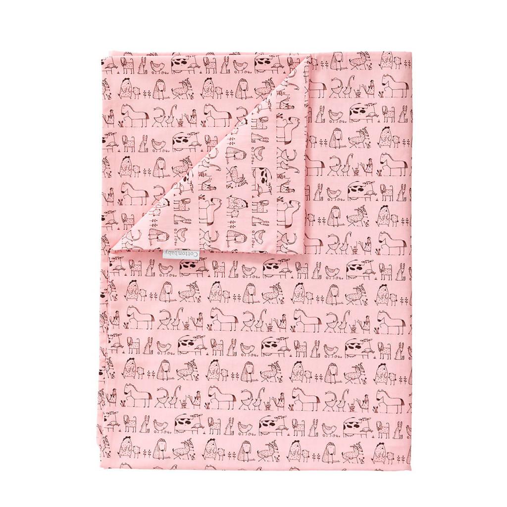 Cottonbaby dekenhoes ledikant dierprint roze, Roze