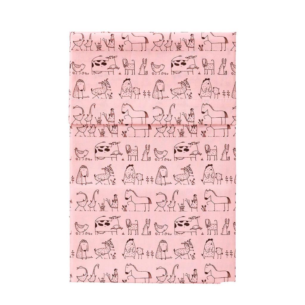 Cottonbaby ledikantlaken 120x150 cm dierenprint roze, Roze