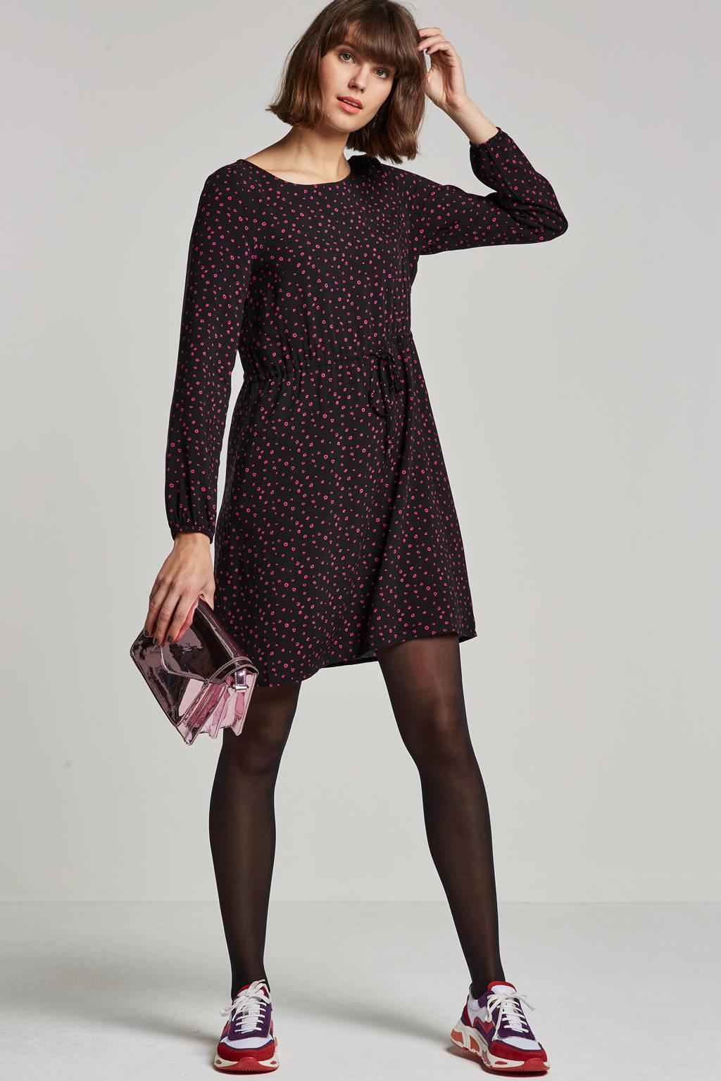 Tom Tailor jurk met bloemenprint, Zwart/roze