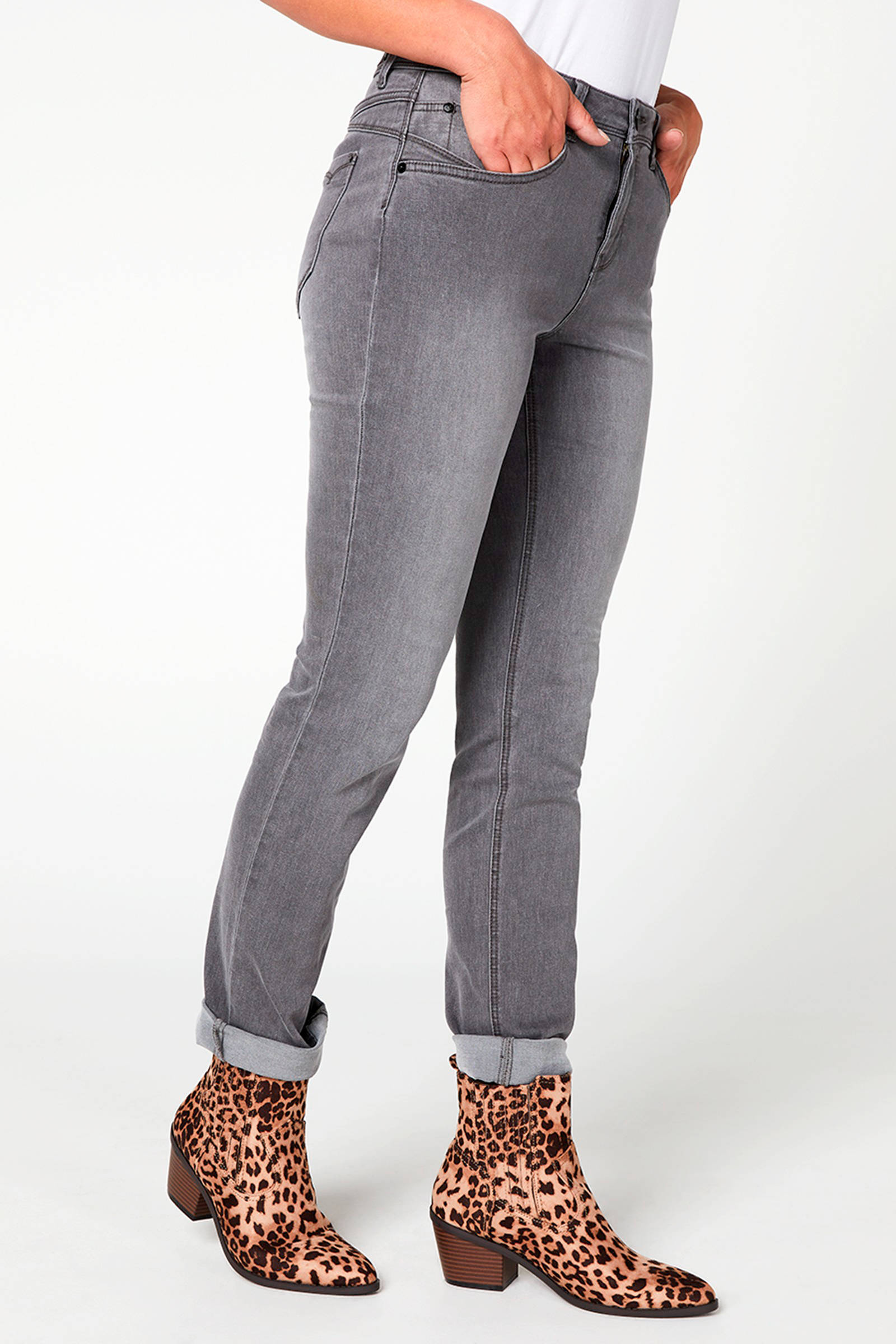 Miss Etam Regulier straight fit jeans Jackie 32 inch grijs