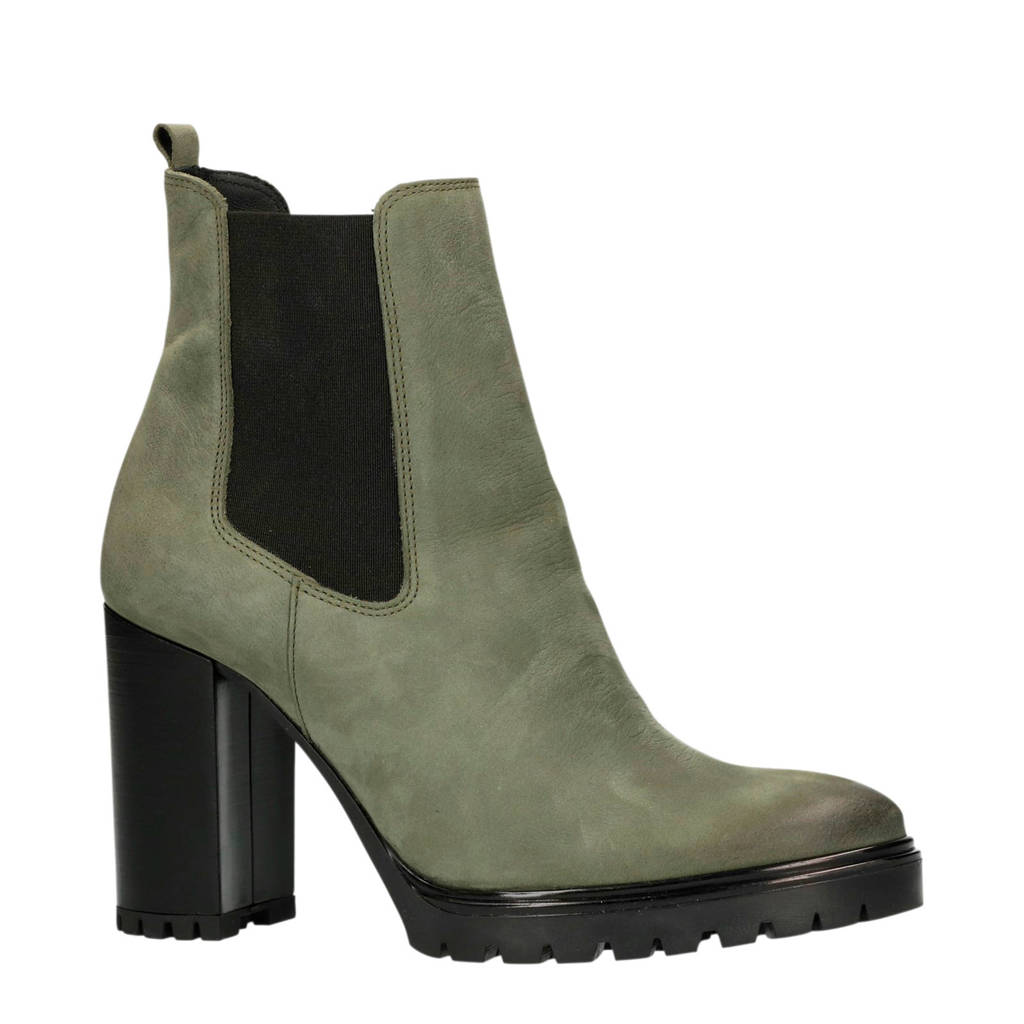 Manfield leren chelsea boots groen, Groen
