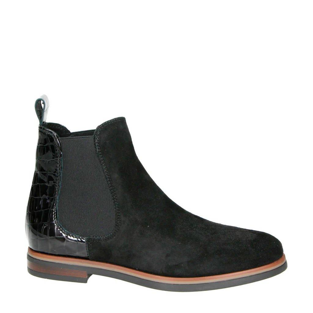 Nelson suède chelsea boots zwart, Zwart