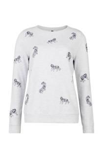 WE Fashion sweater met all over tijgerprint lichtgrijs (dames)