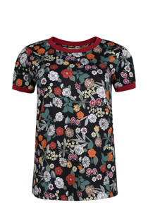 WE Fashion gebloemd T-shirt zwart