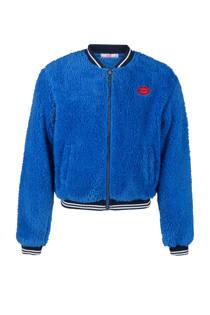 WE Fashion fleece bombervest blauw (meisjes)