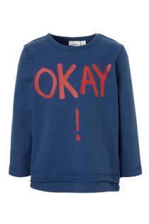 name it MINI sweater Molas met tekst blauw (jongens)