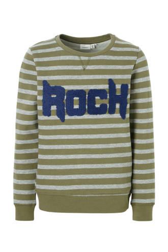 KIDS gestreepte sweater Molar groen/grijs