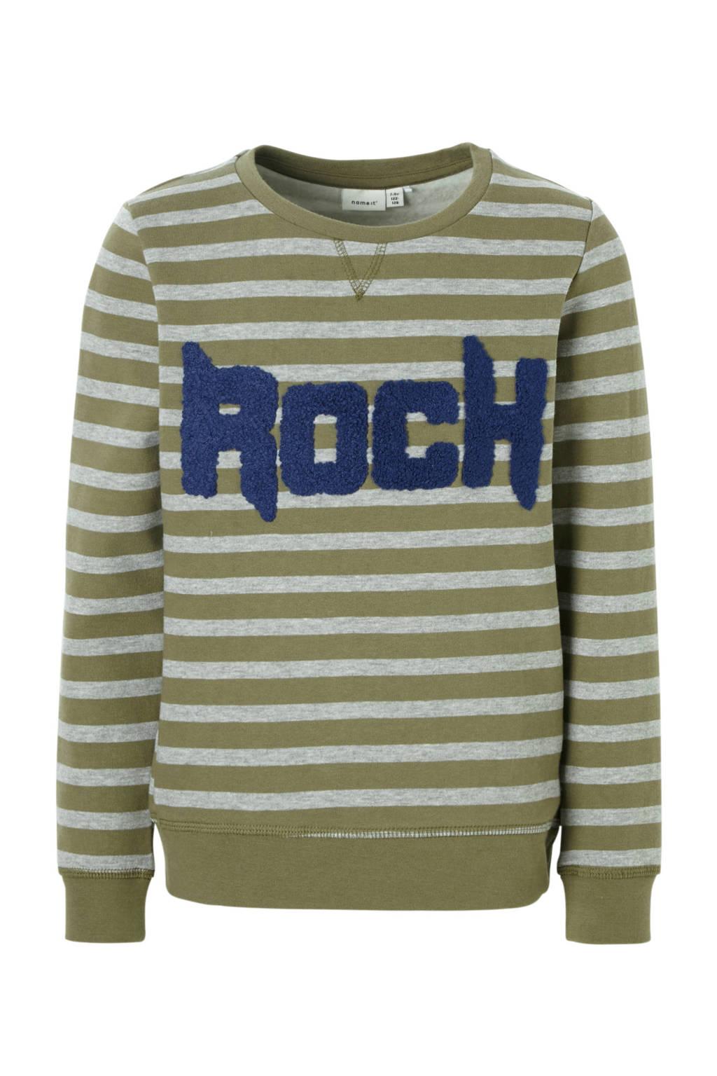 name it KIDS gestreepte sweater Molar groen/grijs, Olijfgroen/grijs