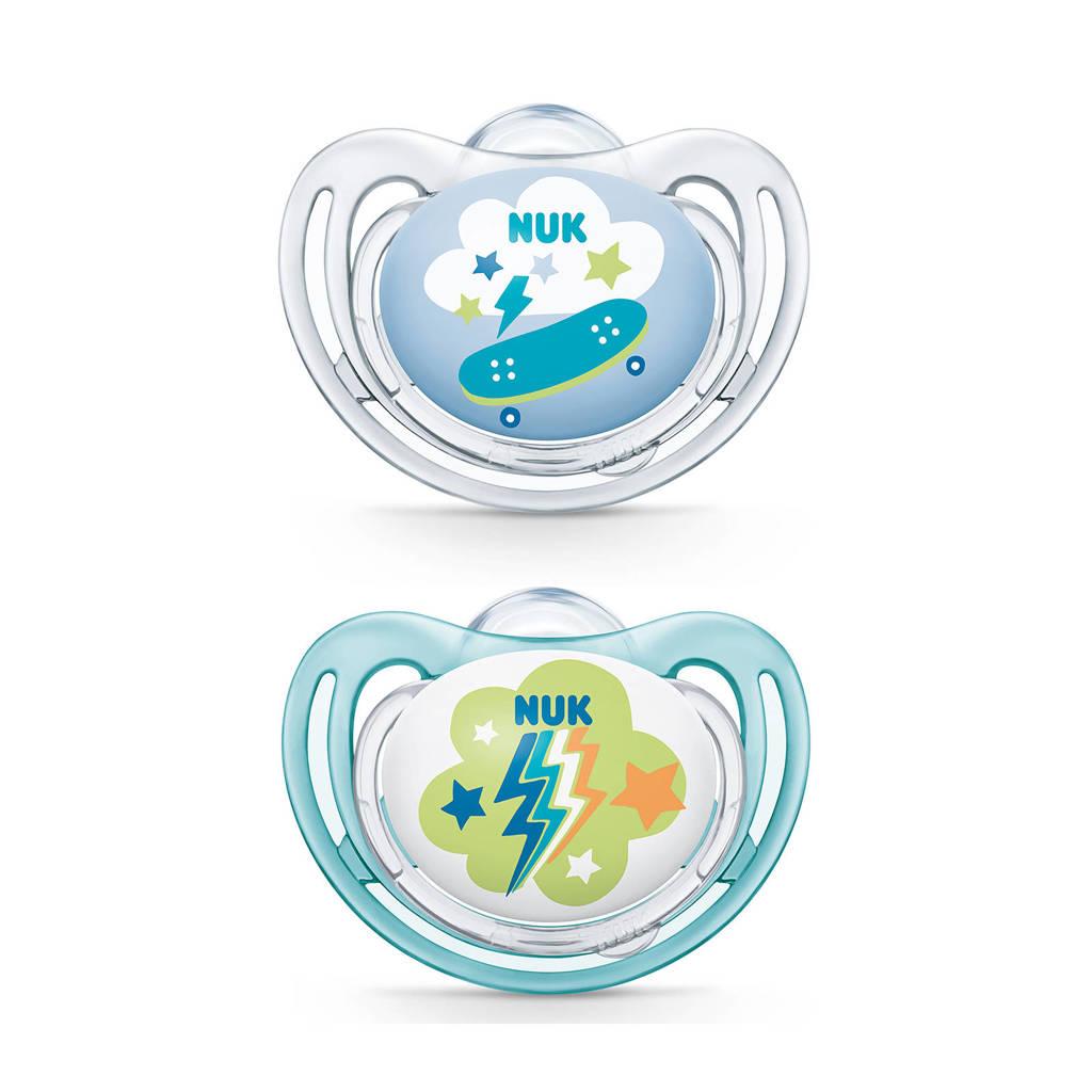 NUK Freestyle fopspeen maat 2 (2 stuks), Blauw/blauw
