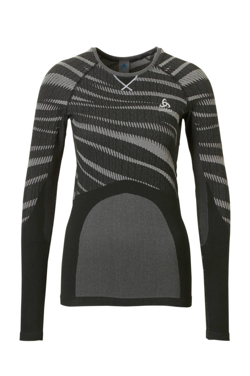 Odlo sport T-shirt thermo zwart/grijs, Zwart/grijs